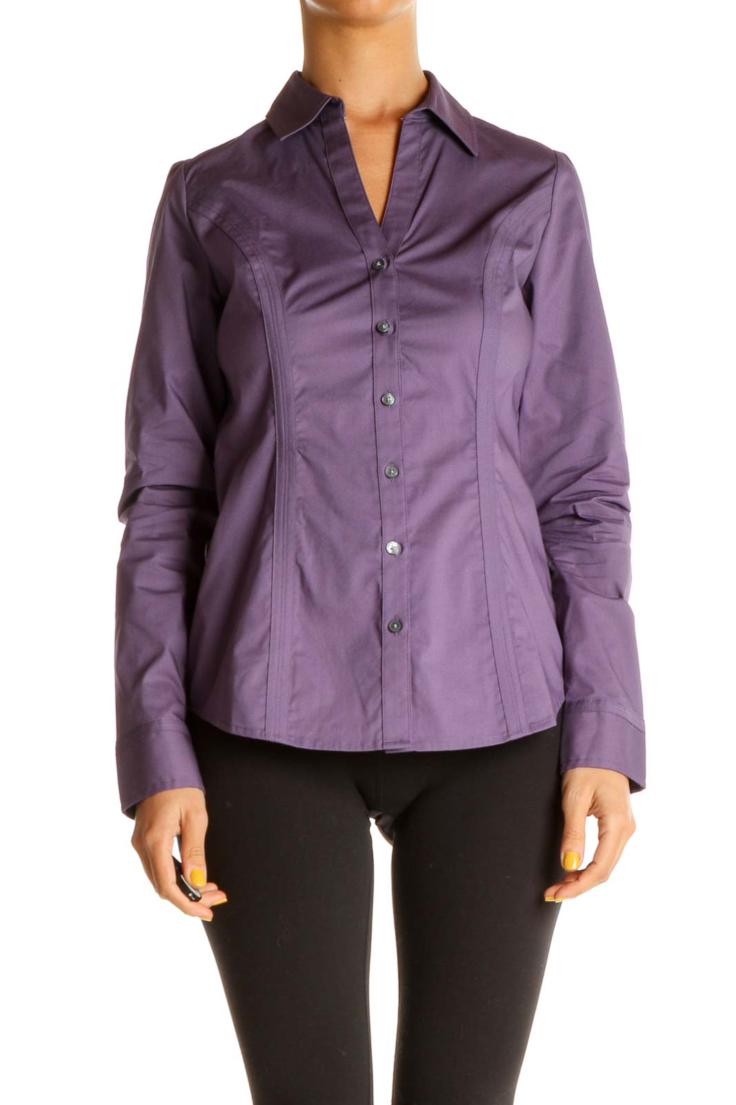 Purple Solid Work Shirt Front