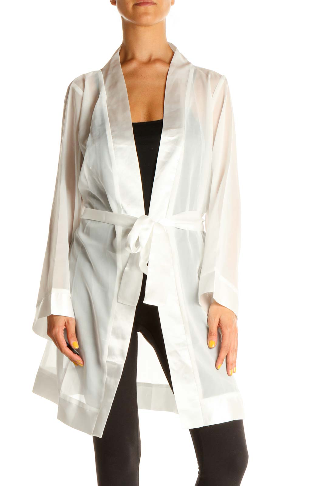 White Sheer Front-Tie Robe Front