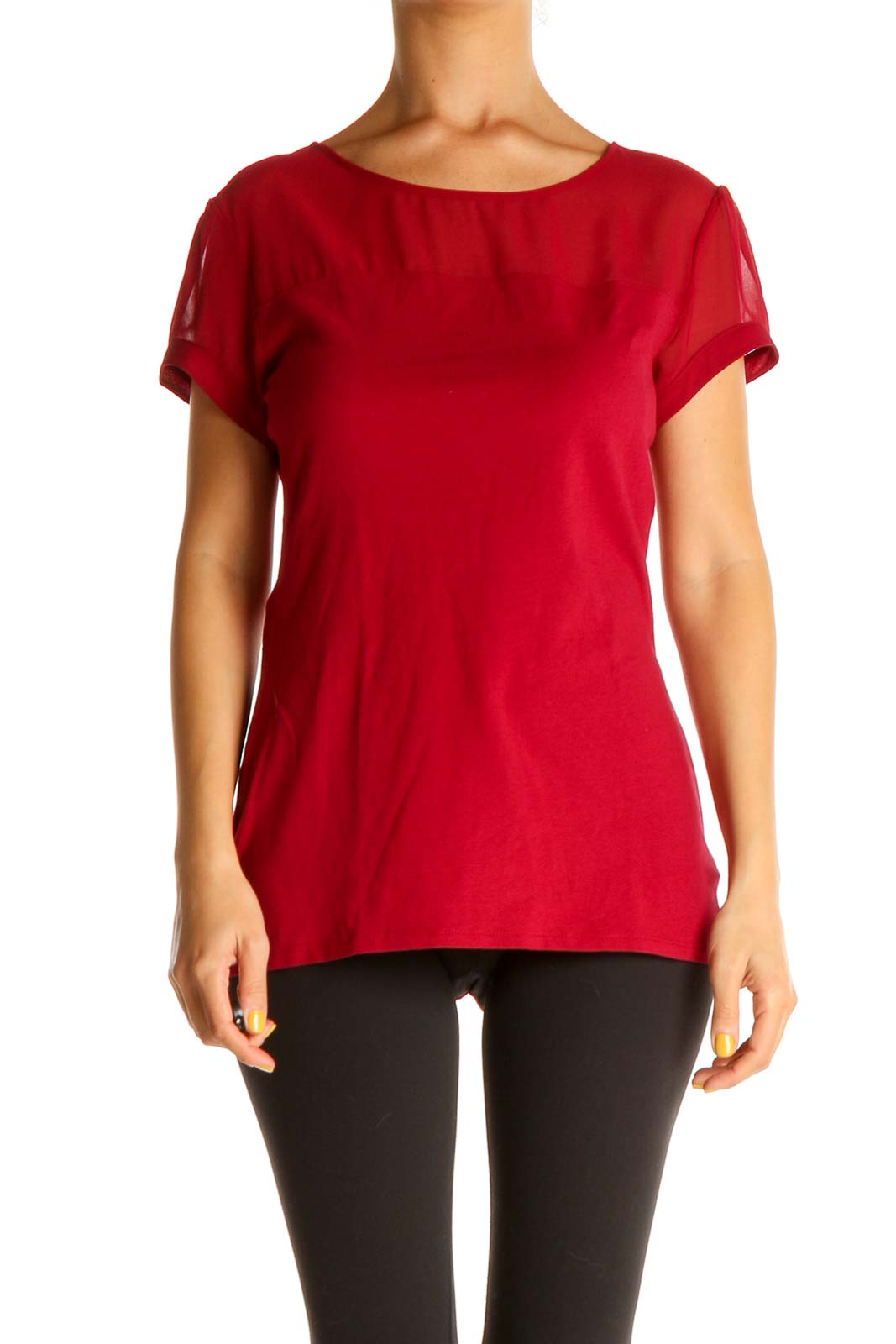 Red Solid Casual Blouse Front