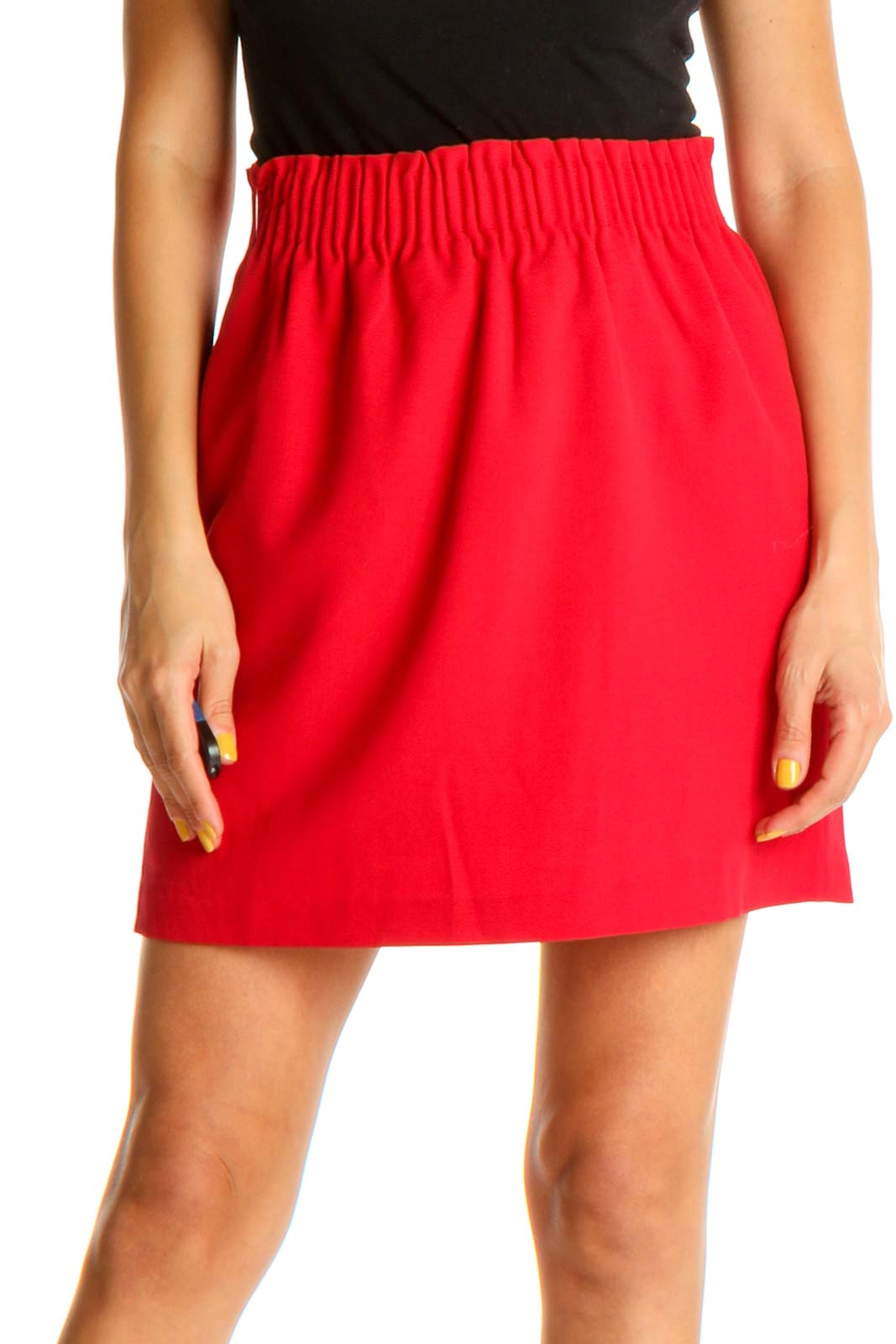 Red All Day Wear A-Line Skirt Front