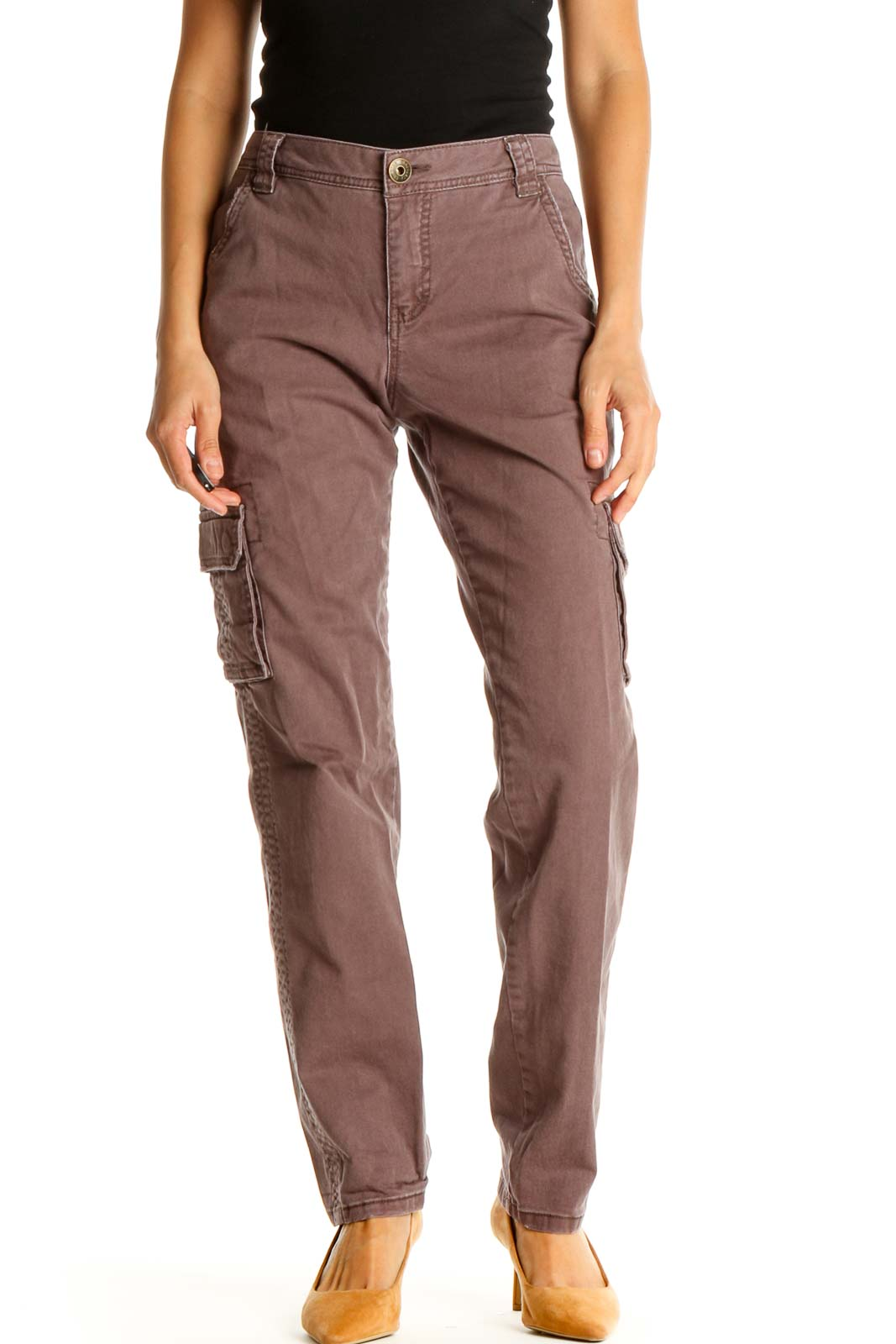 Red Casual Cargos Pants Front