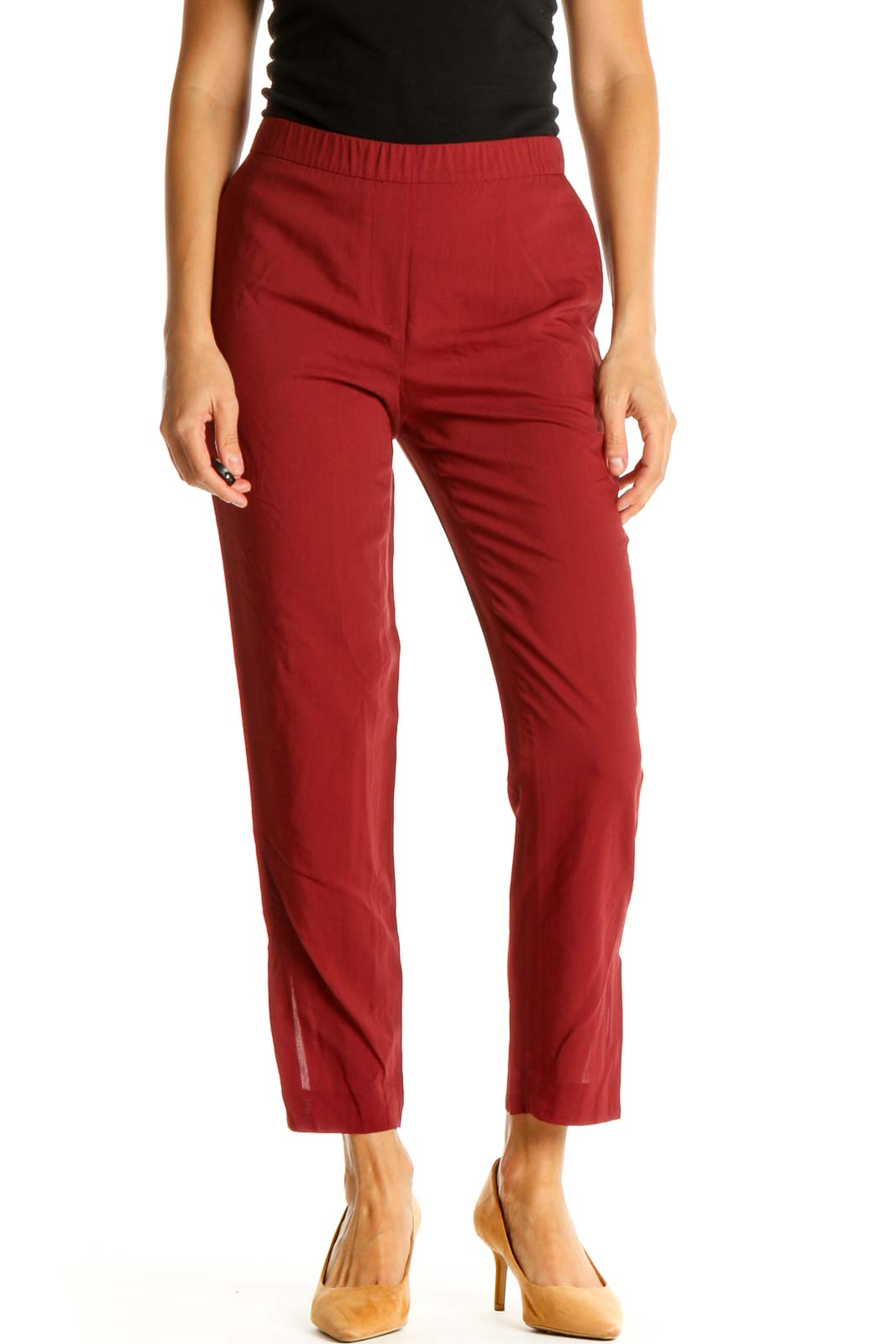 Red Solid All Day Wear Pants Front