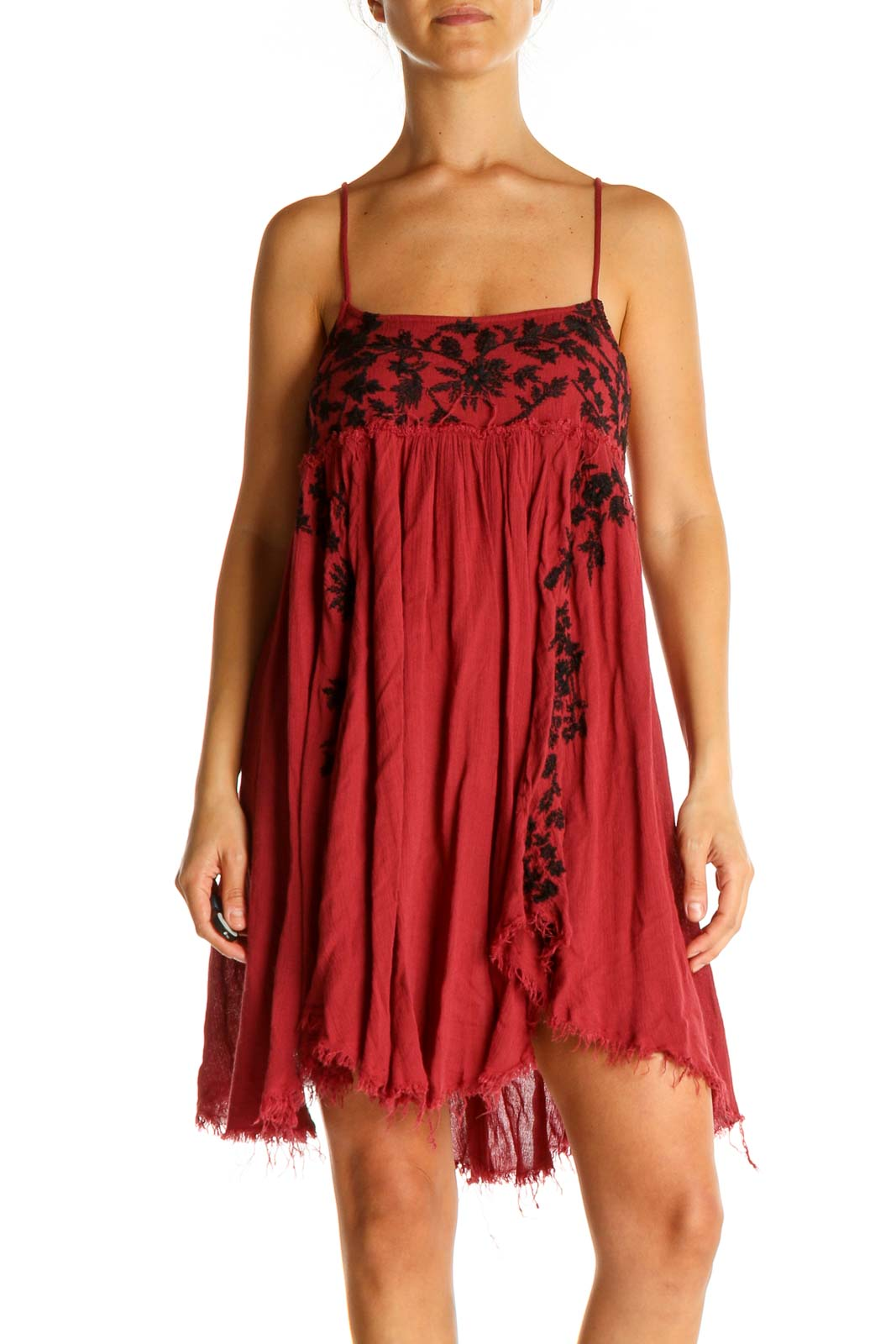 Red Bohemian Fit & Flare Dress Front