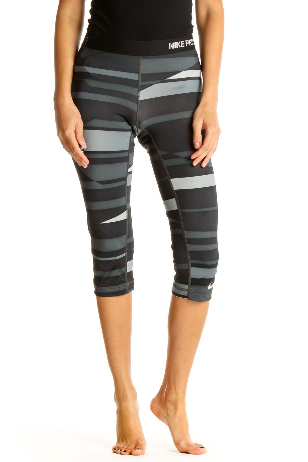 Gray Printed Activewear Leggings Front