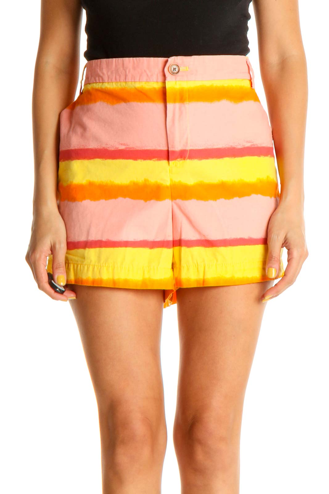 Pink Striped Casual Shorts Front