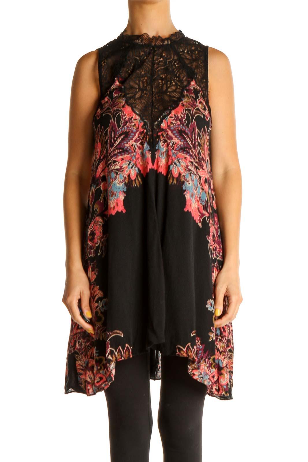 Black Floral Print Lace Bohemian Blouse Front