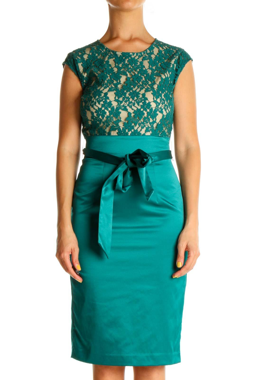 Green Blue Lace Work Sheath Dress Front
