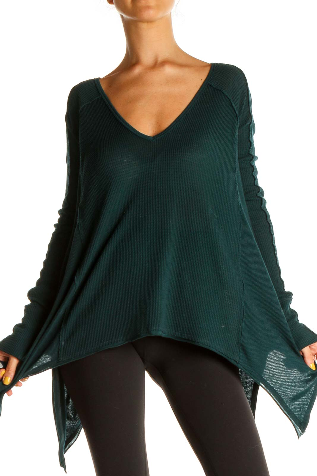 Green Solid Bohemian Sweater Front