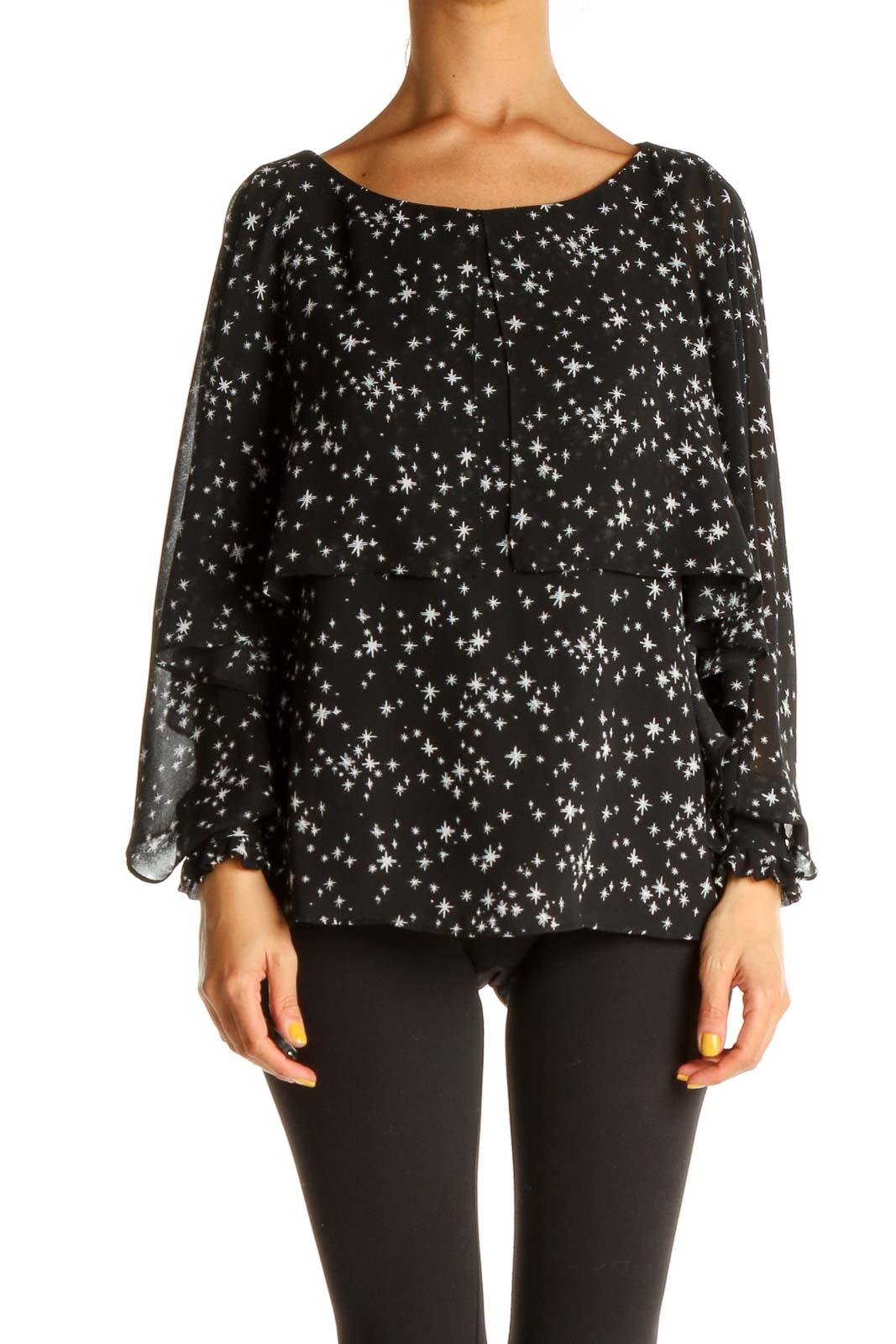 Black Sparkle Polka Dot All Day Wear Blouse Front