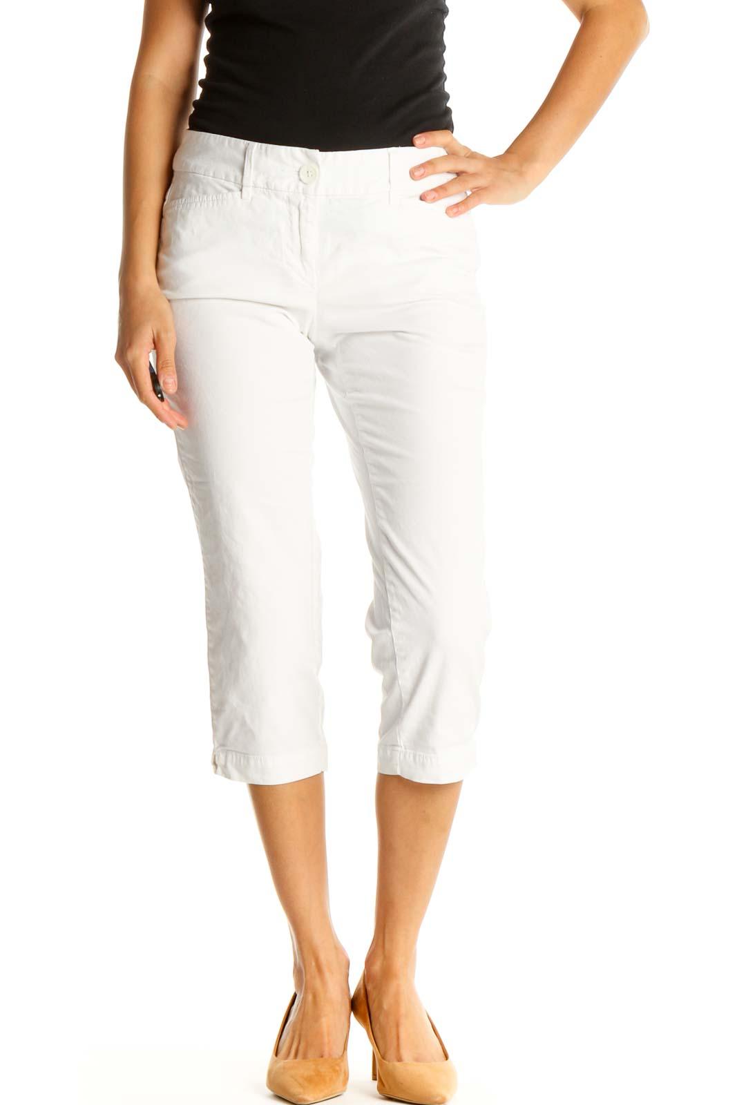 White Casual Capri Pants Front