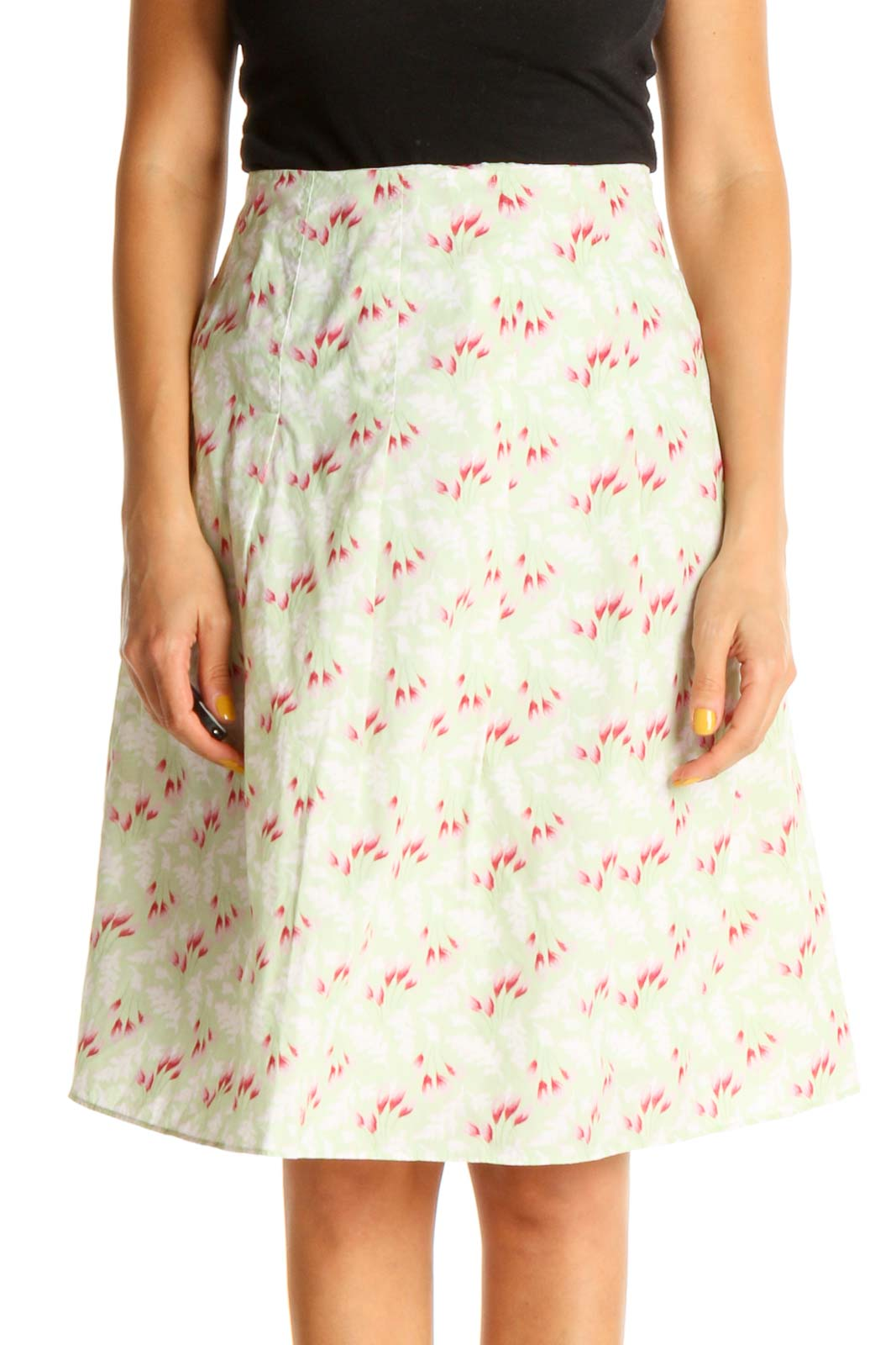 Beige Floral Print Chic A-Line Skirt Front