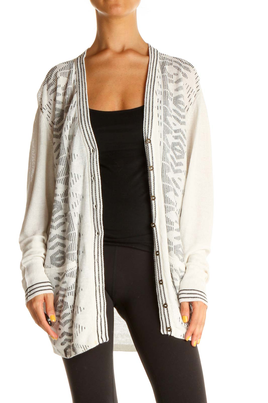 White Printed Cardigan Front