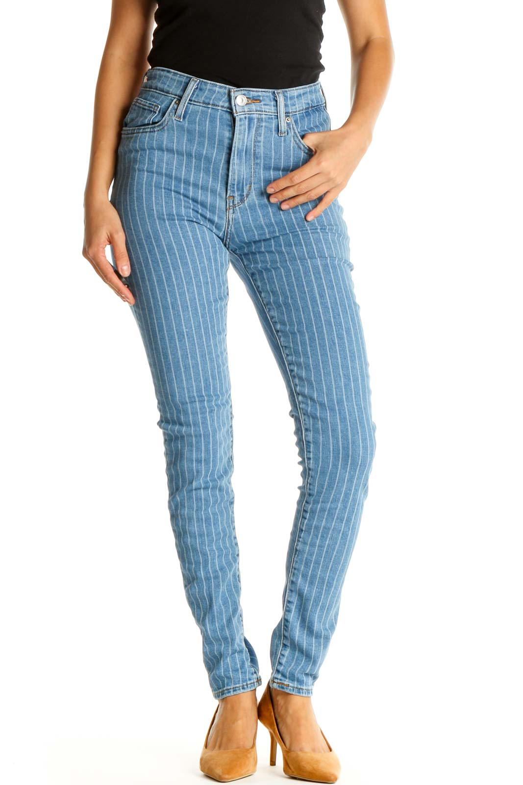 Blue Striped High-Waisted Skinny Jeans Front