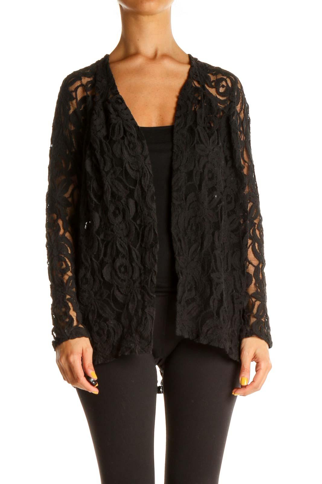 Black Lace Cardigan Front