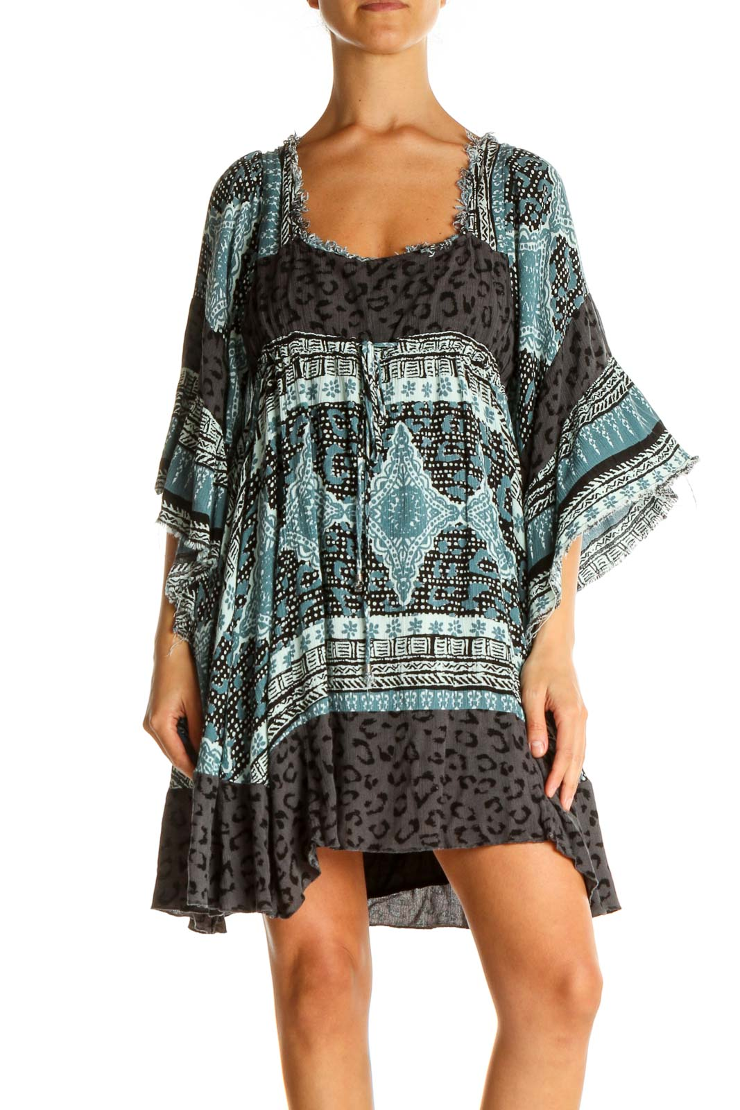 Blue Printed Bohemian Fit & Flare Dress Front