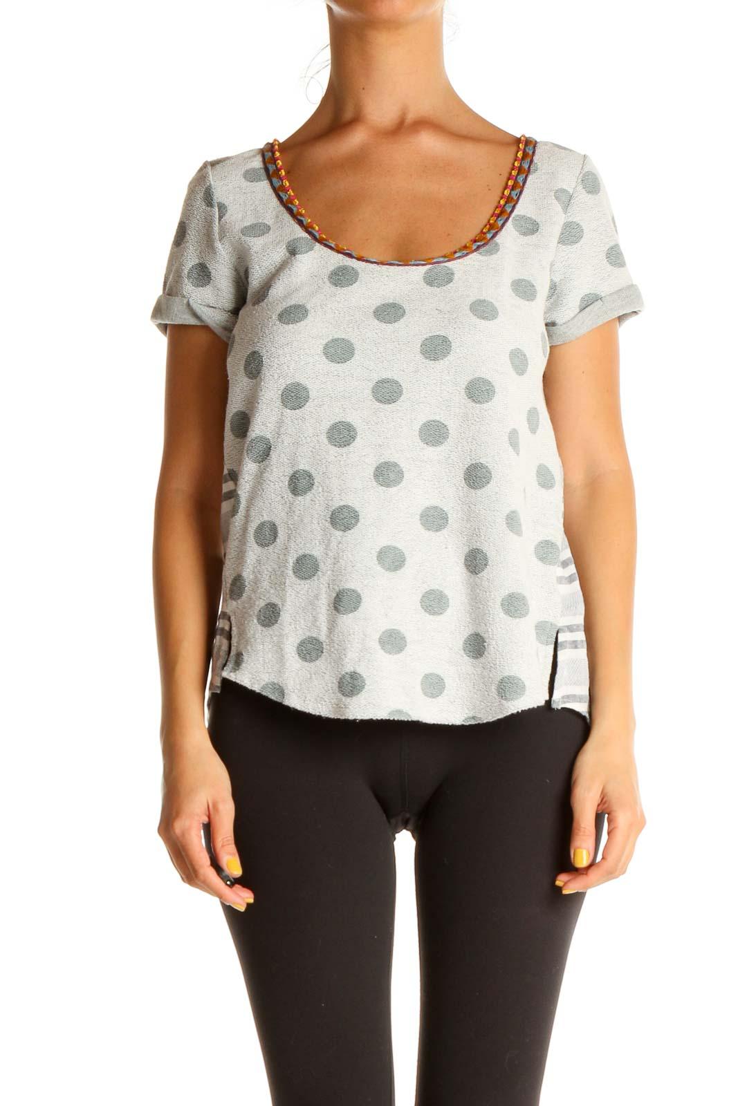 Gray Polka Dot Casual T-Shirt Front