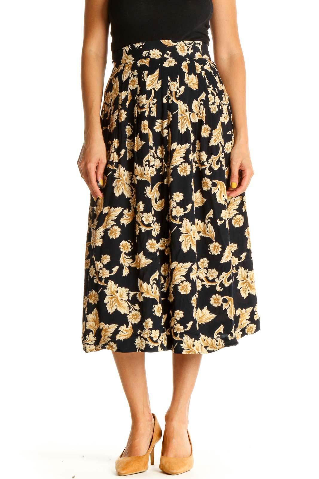 Black Printed Brunch Flared Skirt Front
