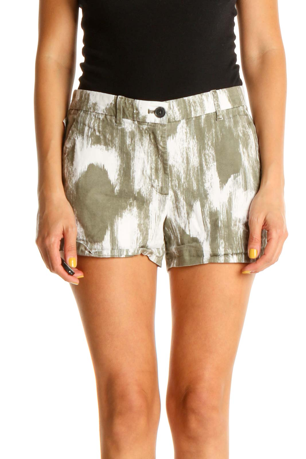 White Tie And Dye All Day Wear Shorts Front