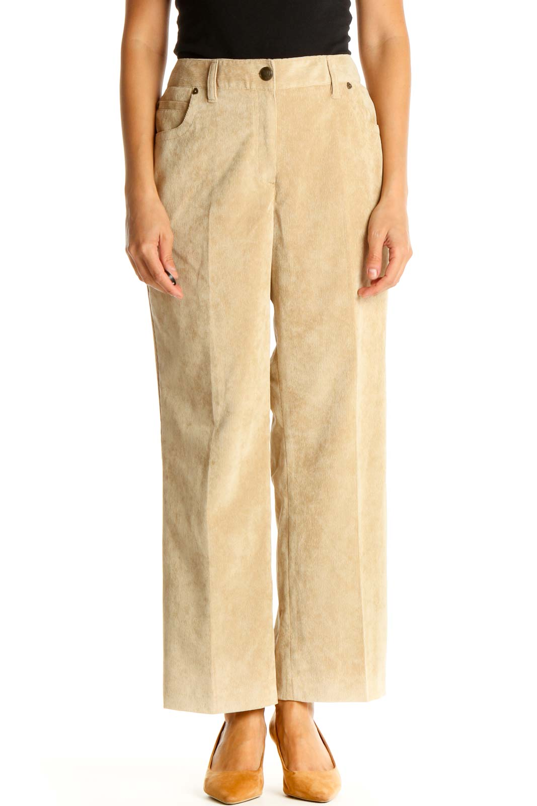 Beige Casual Trousers Front