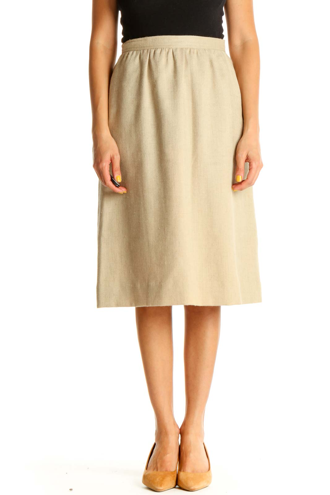 Beige All Day Wear A-Line Skirt Front