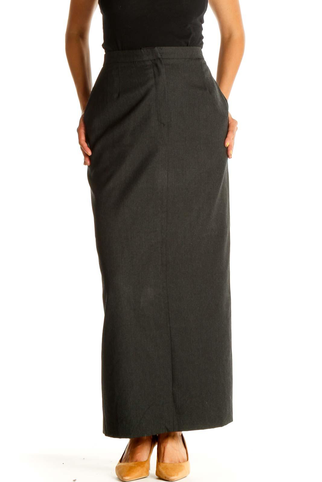 Green Solid Brunch Pencil Skirt Front