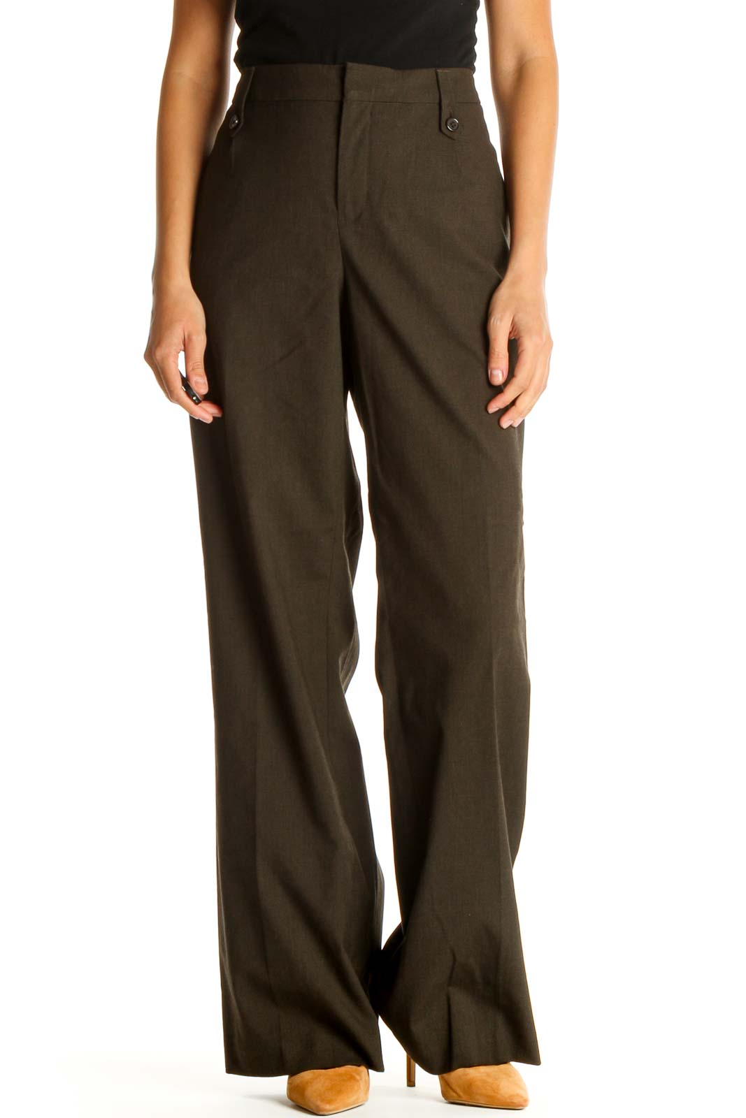Brown All Day Wear Trousers Front