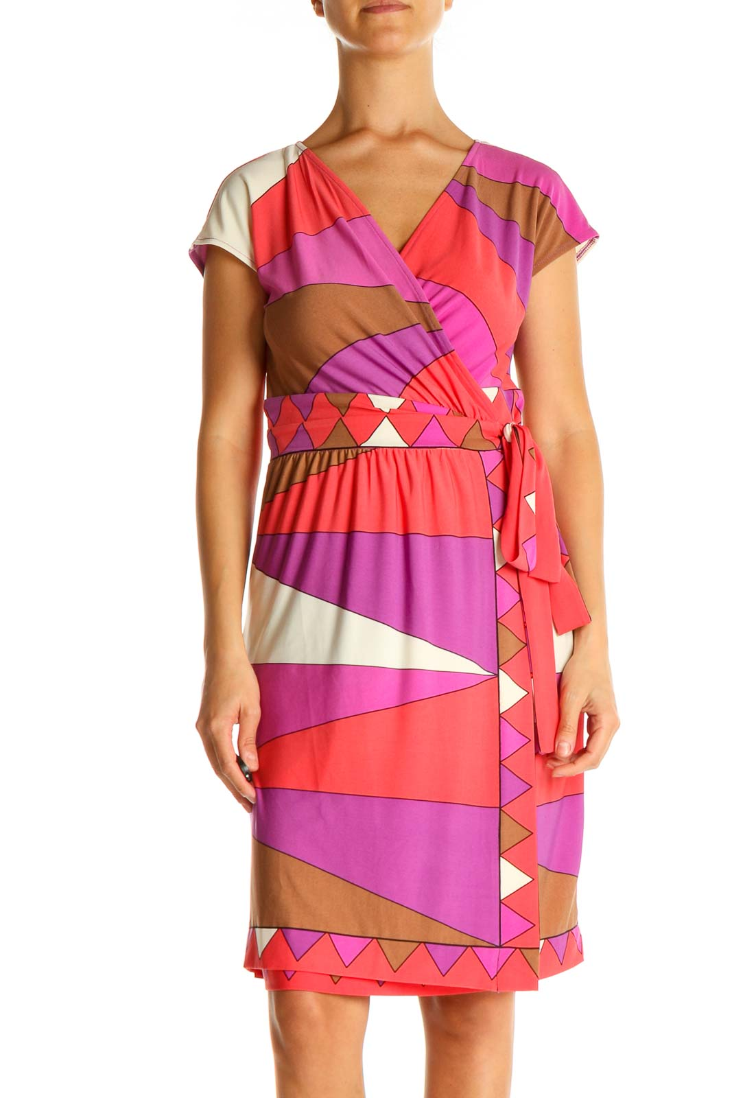 Pink Graphic Print Retro Fit & Flare Dress Front