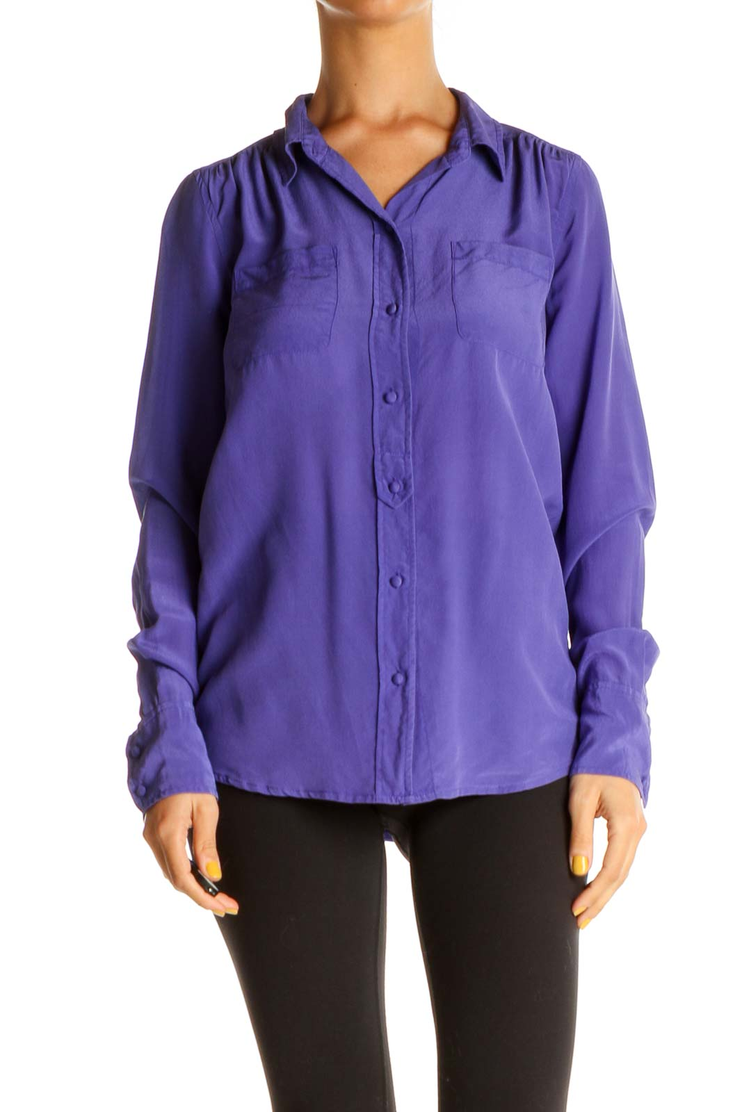 Purple Silk Solid Formal Shirt Front