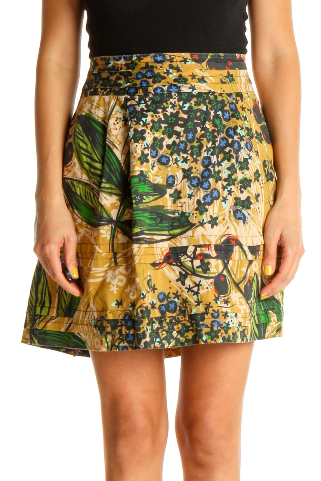 Beige Tropical Print Chic A-Line Skirt Front