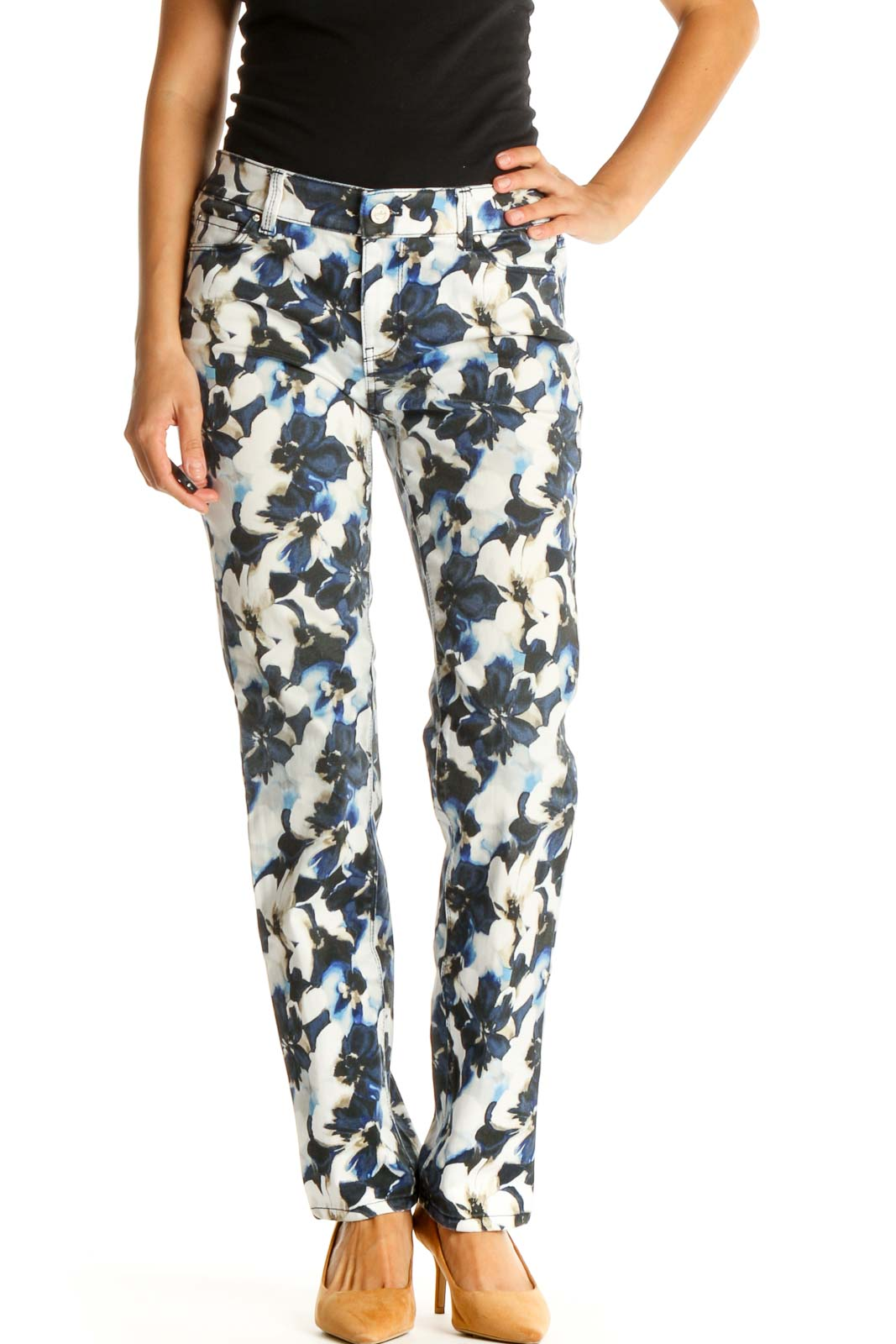 Gray Floral Print All Day Wear Pants Front
