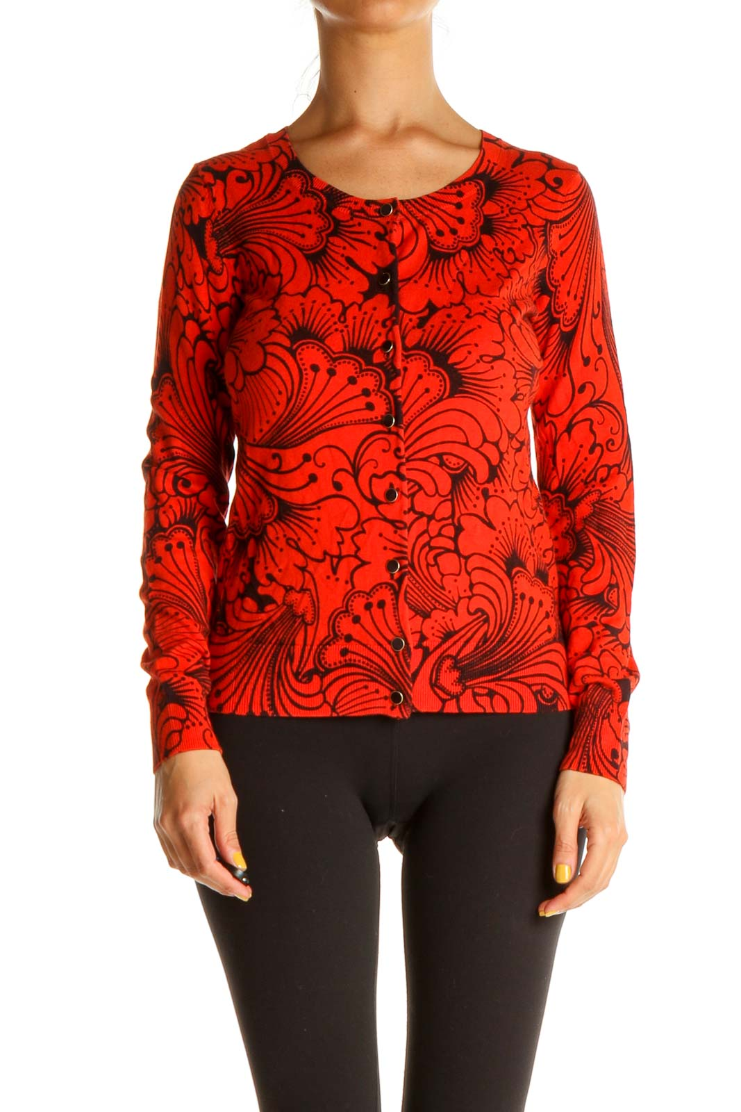 Red Tropical Print Retro Sweater Front