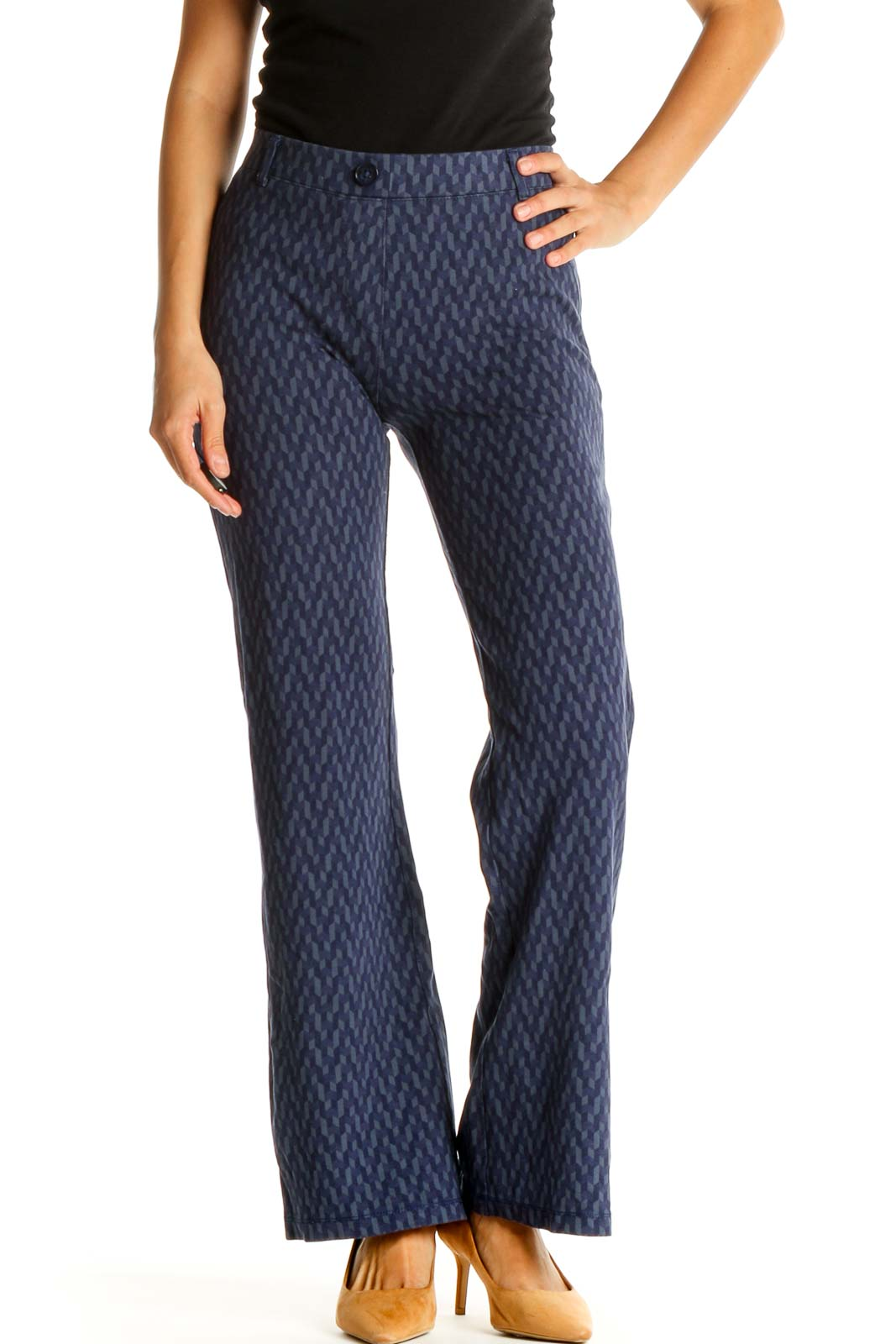 Blue Printed All Day Wear Trousers Front