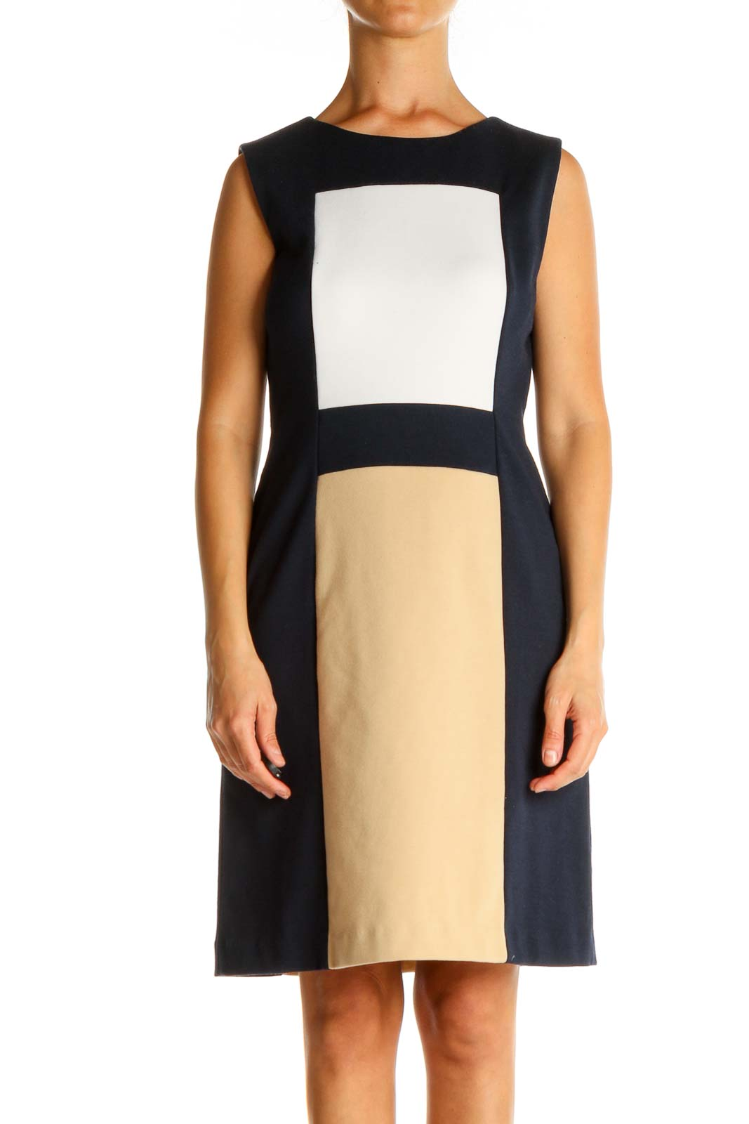 Blue Colorblock Day Sheath Dress Front