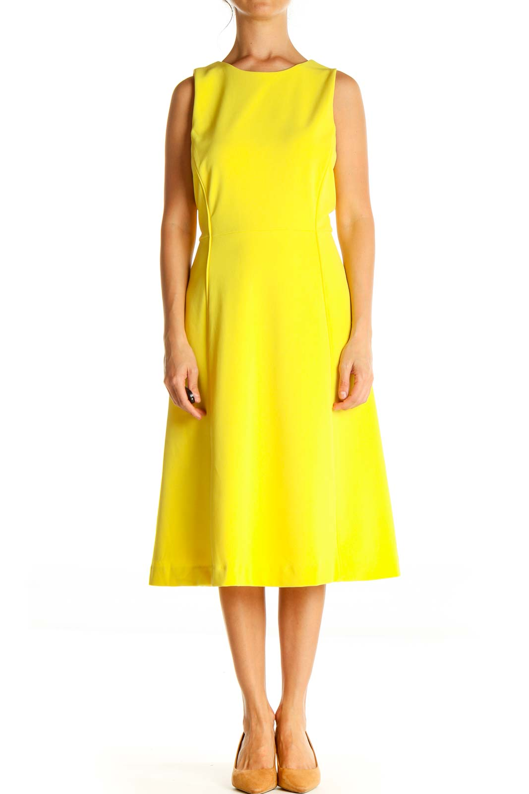 Yellow Solid Work Fit & Flare Dress Front