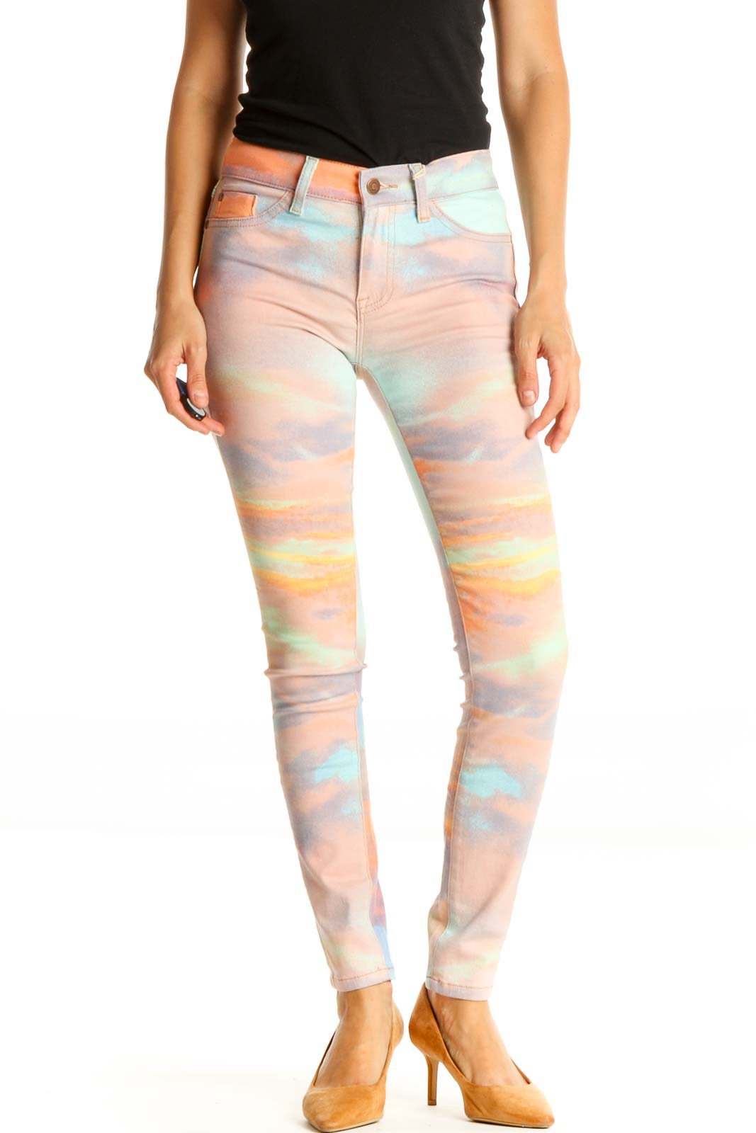 Pink Tie And Dye All Day Wear Skinny Pants Front
