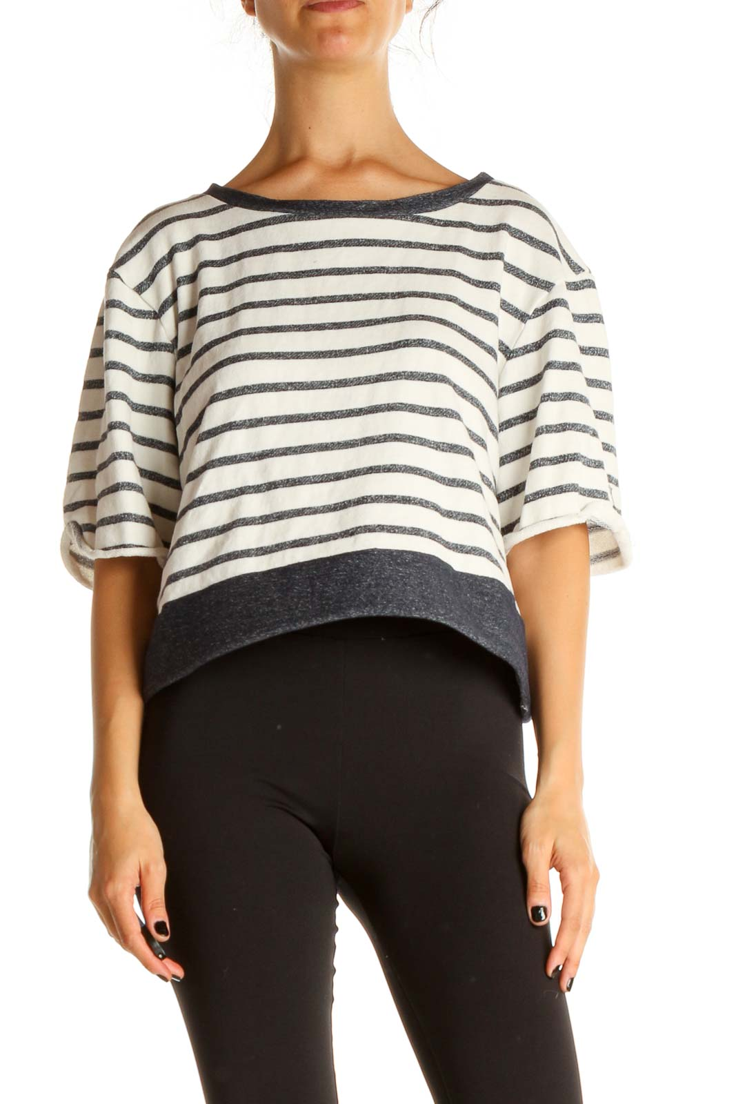 Gray Striped Casual Top Front