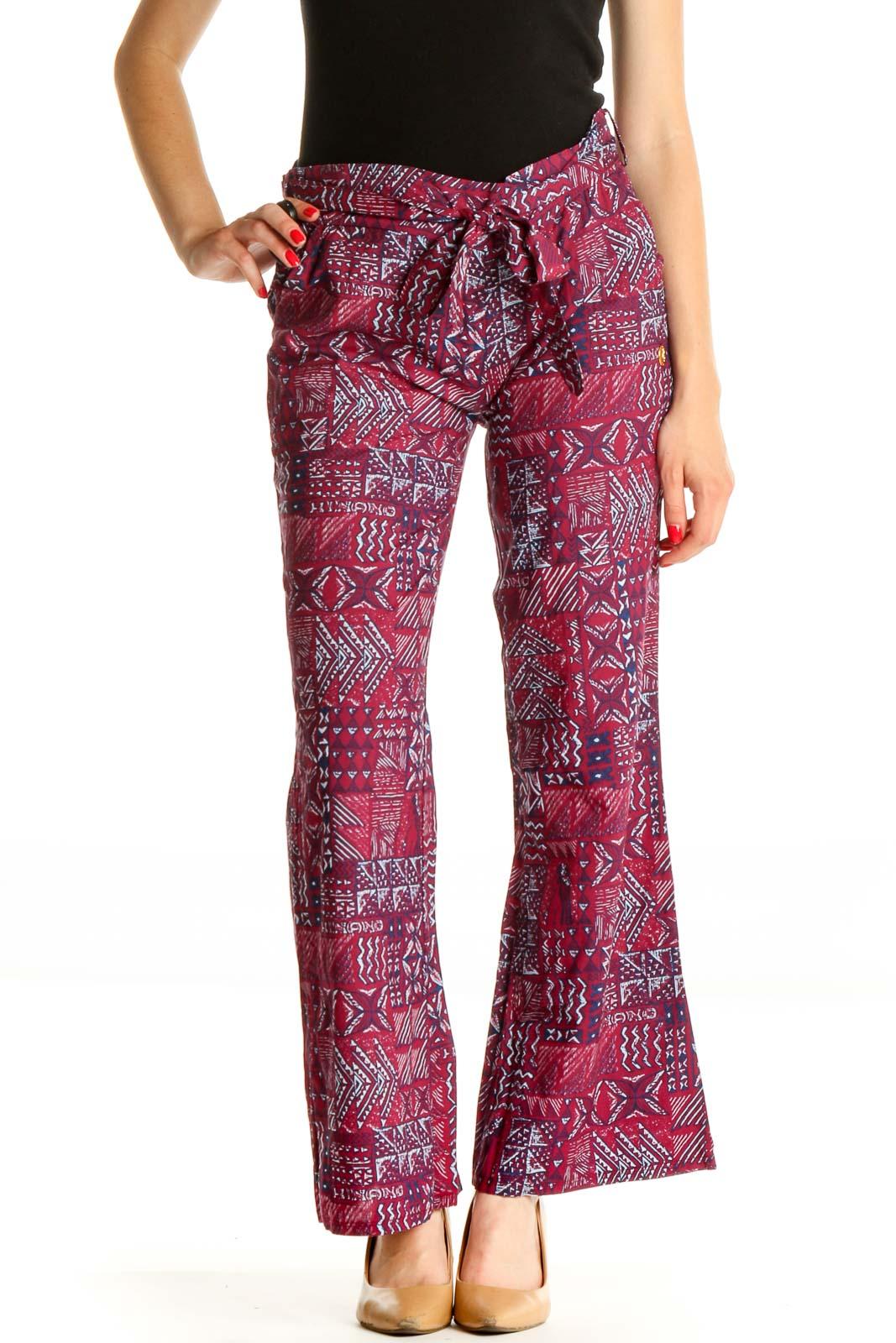 Purple Printed Bohemian Pants Front