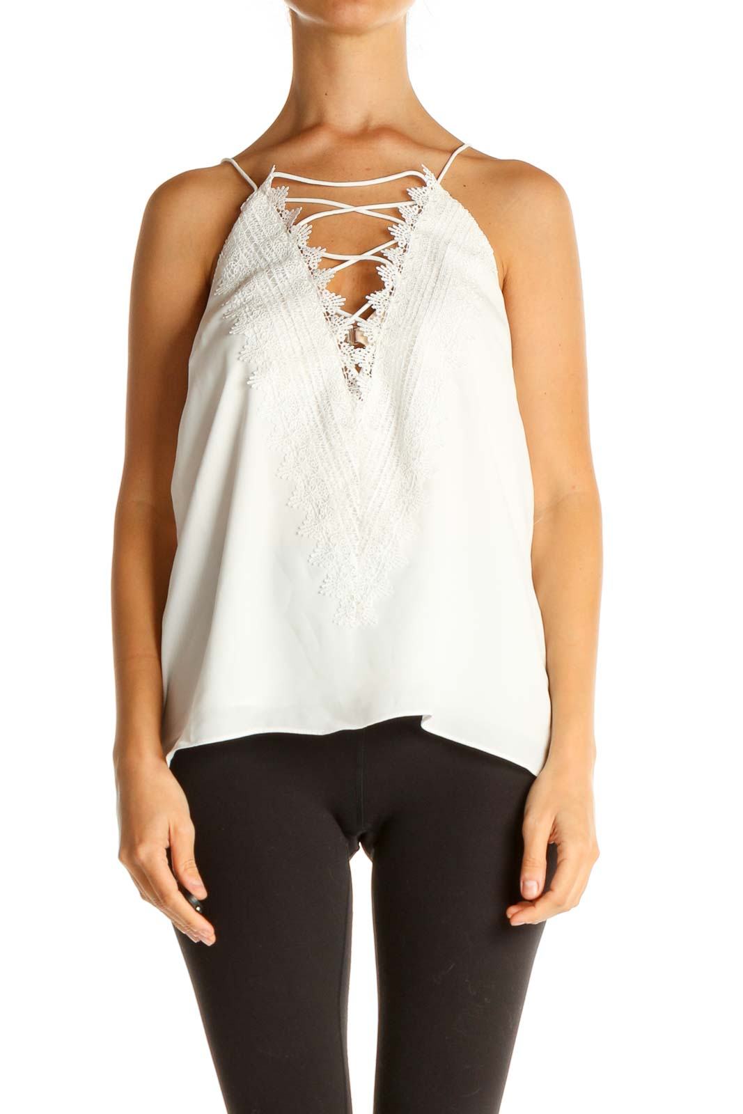 White Lace Chic Blouse Front
