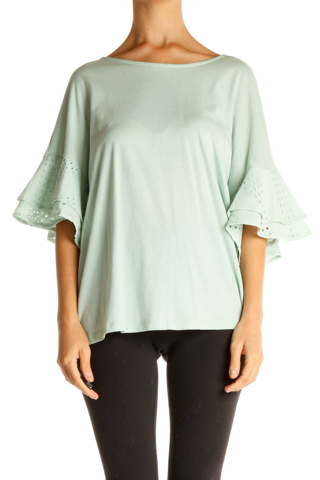 Green Solid All Day Wear Blouse Front