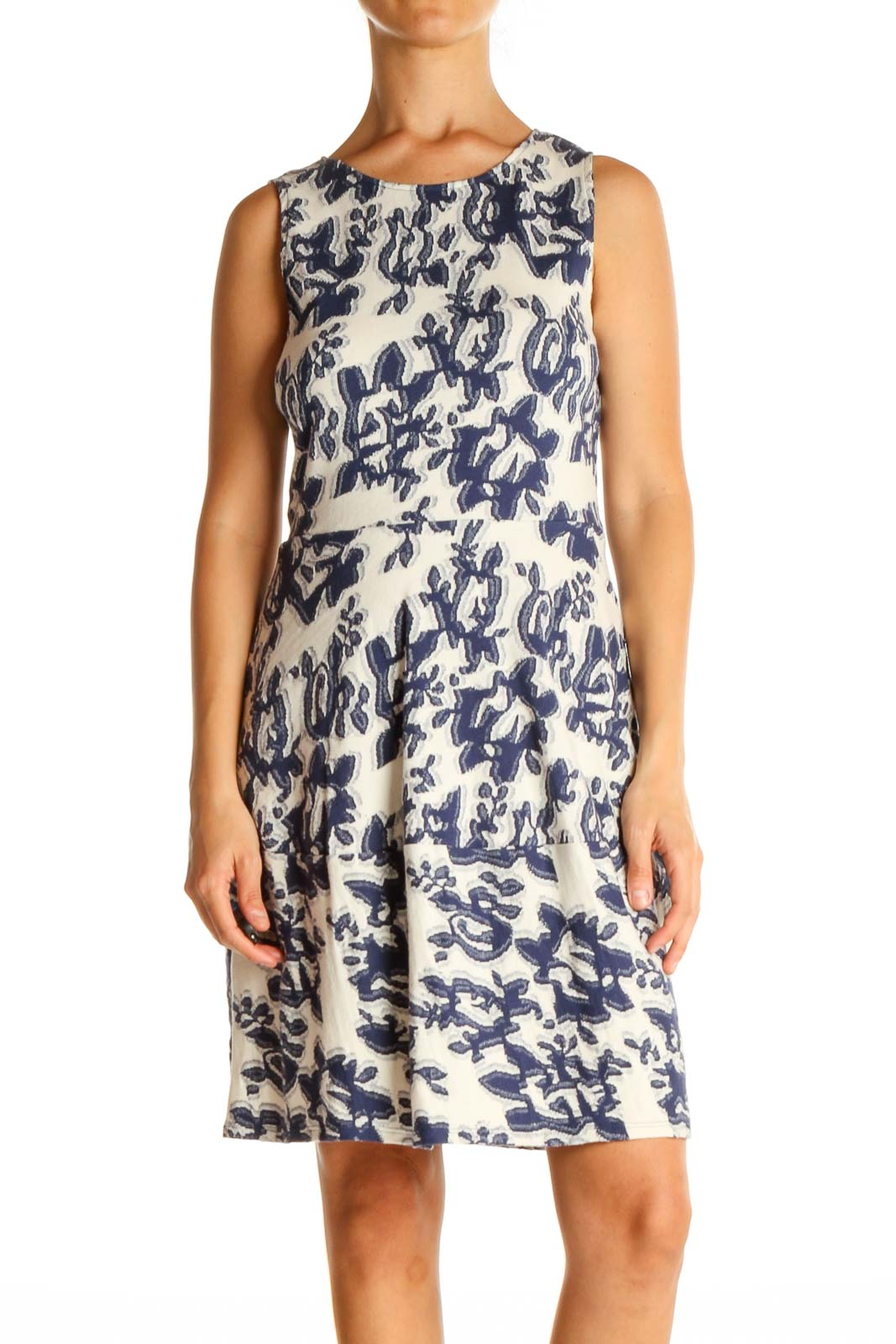 Blue Printed Retro Fit & Flare Dress Front