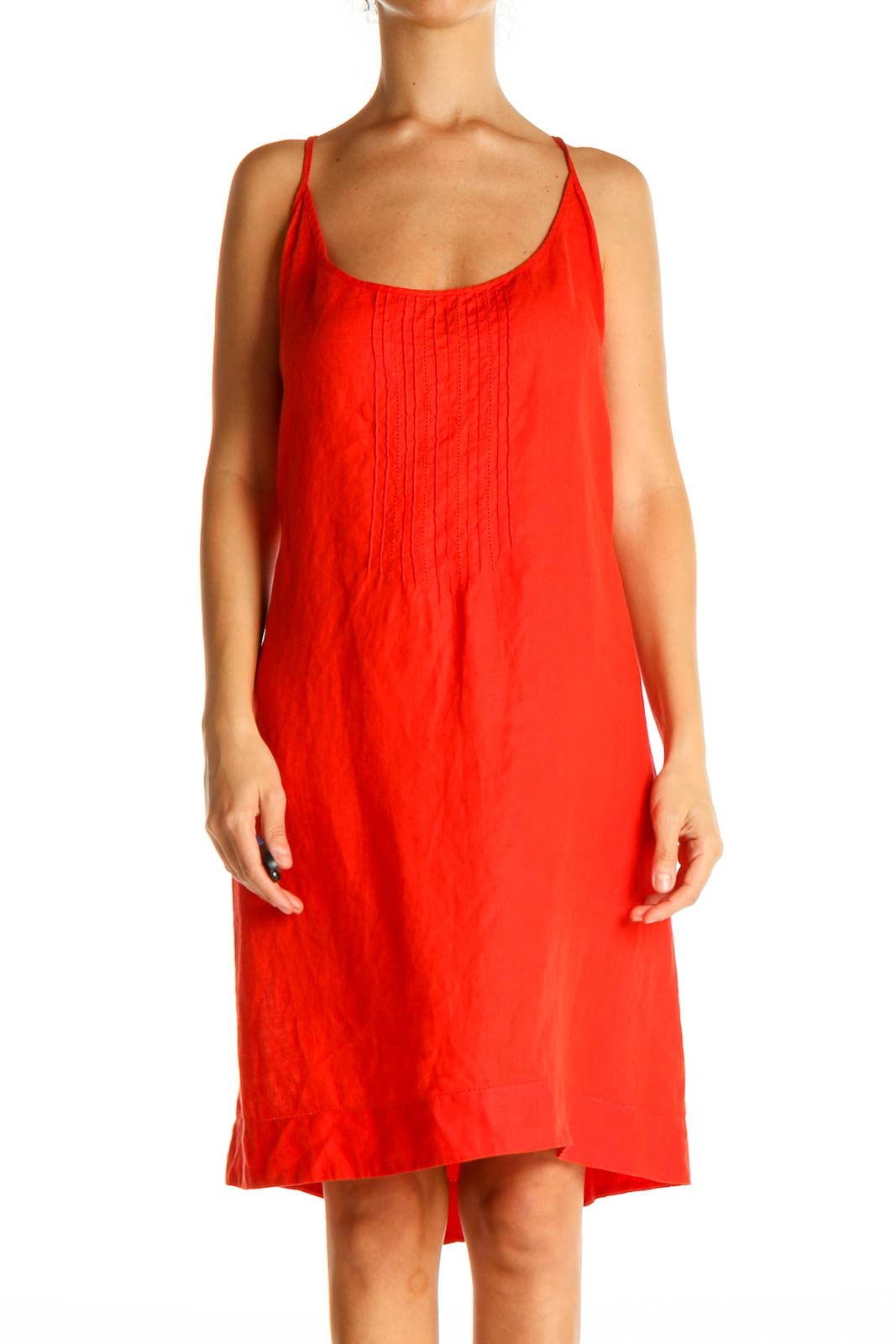 Red Solid Chic A-Line Dress Front