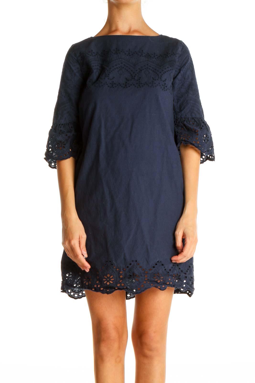 Blue Lace Bohemian Shift Dress Front