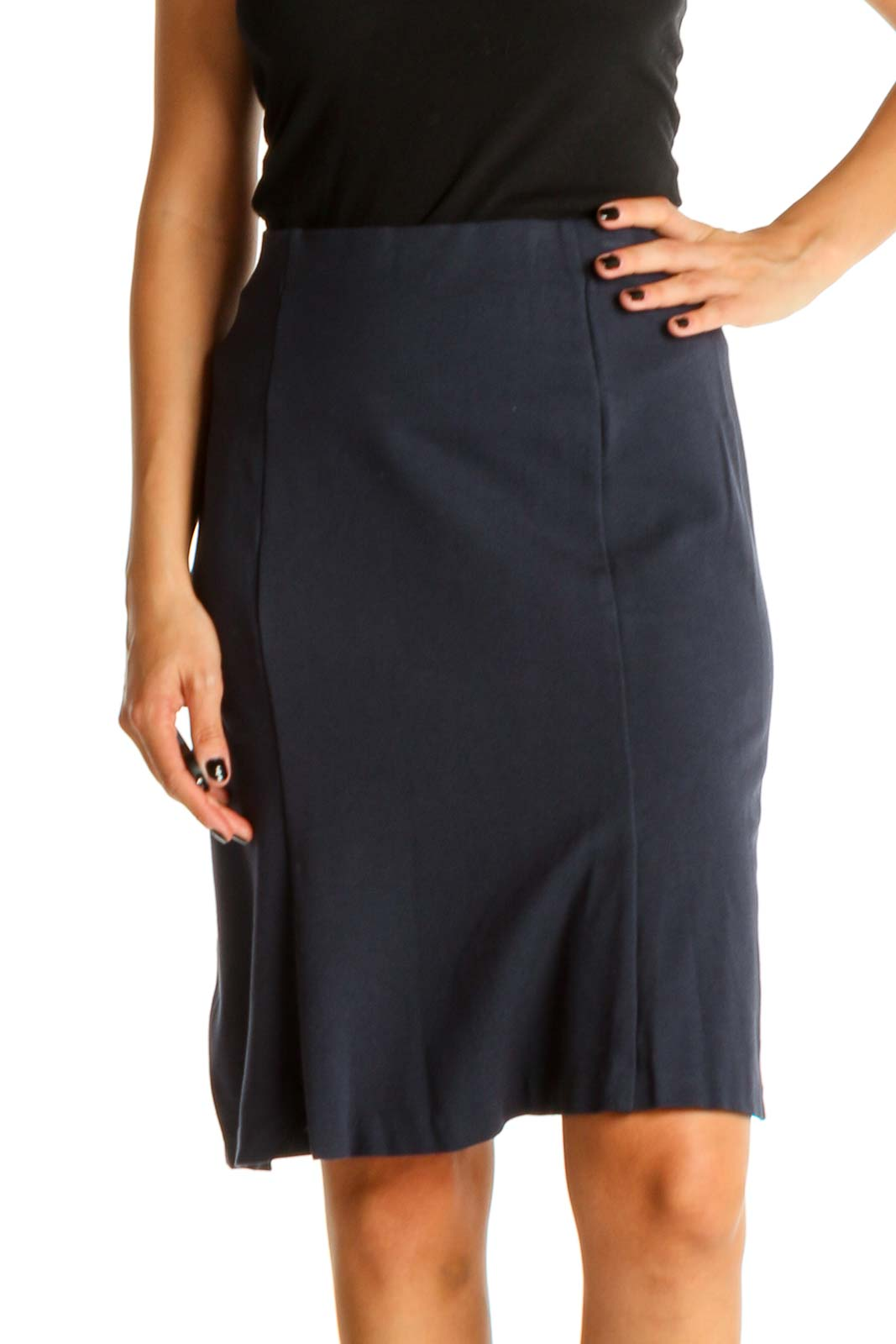 Blue Solid Chic Pencil Skirt Front