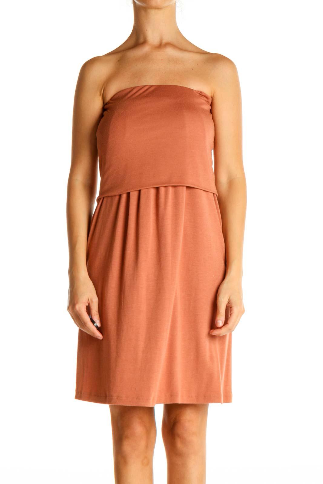 Orange Solid Fit & Flare Dress Front
