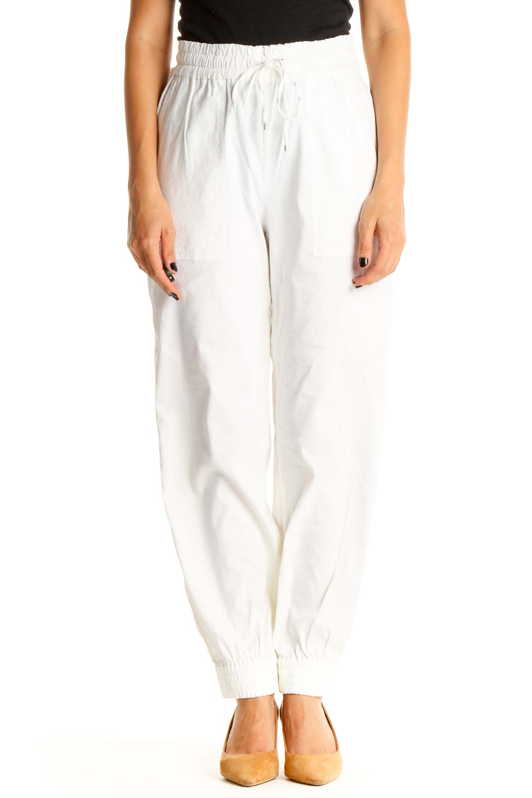 White Casual Pants Front