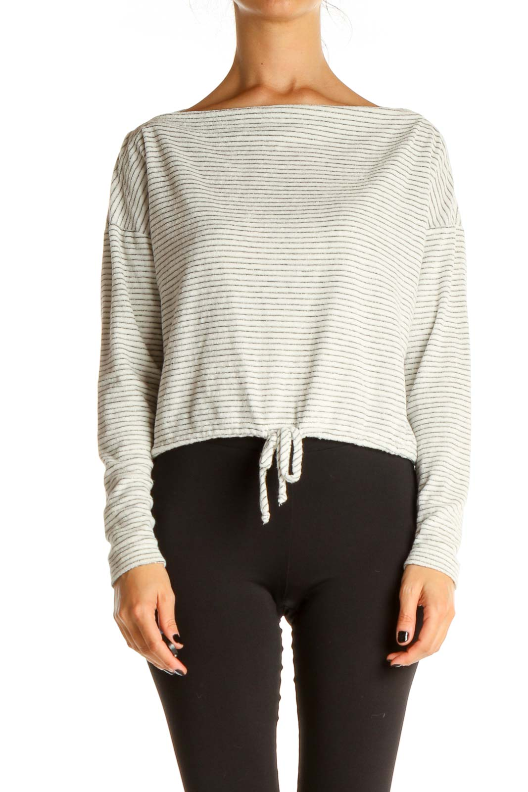 White Striped Brunch Top Front