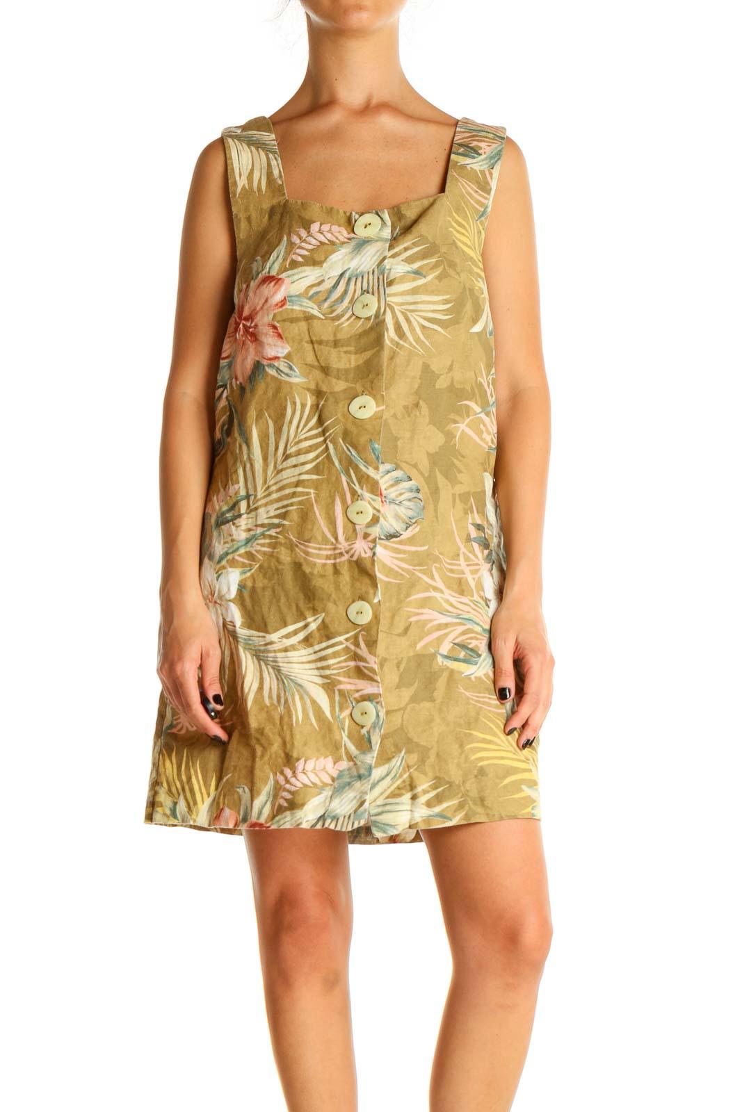 Beige Tropical Print Shift Dress Front