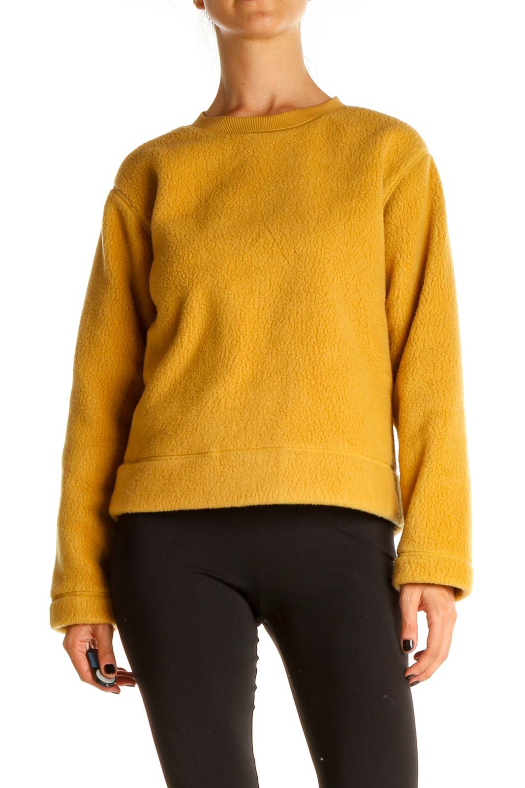 Yellow Casual Sweater Front