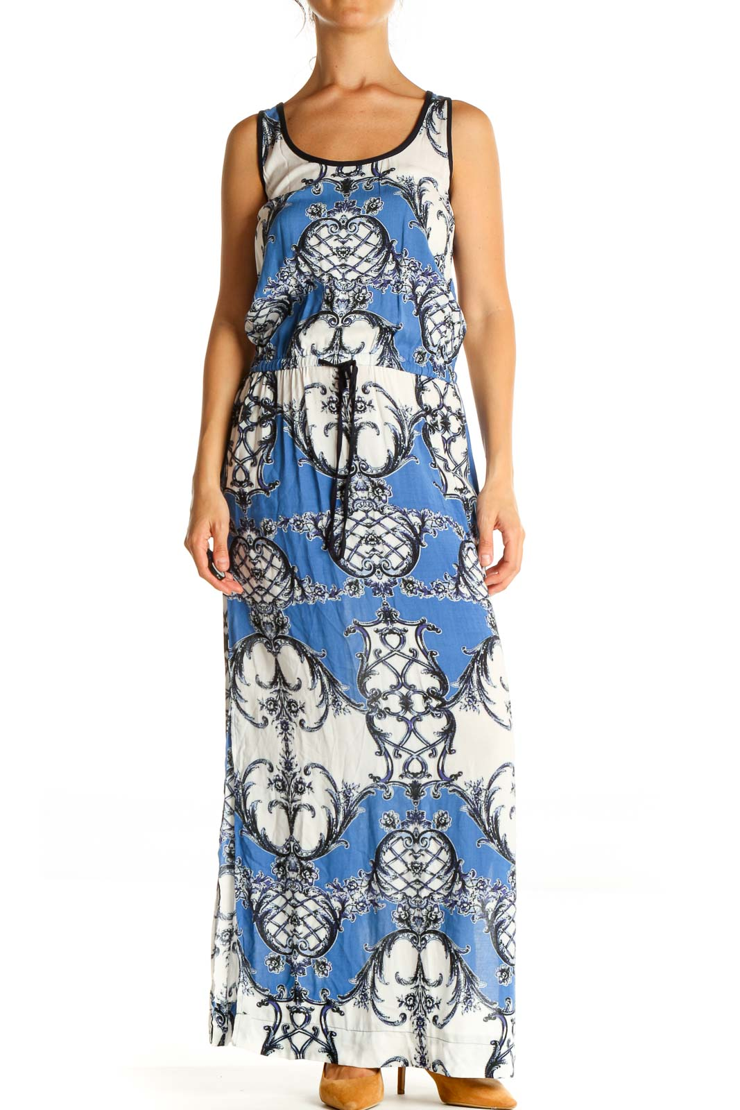 Blue Printed Holiday Column Dress Front