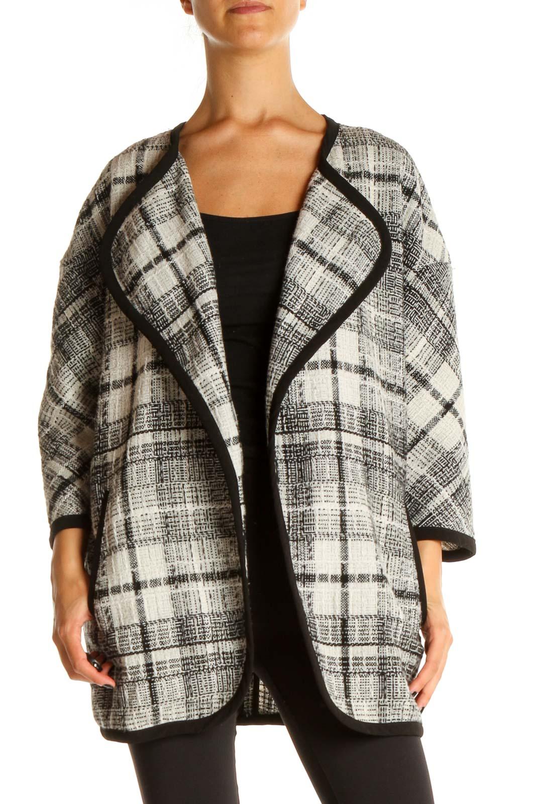 Black Checker Overcoat Front